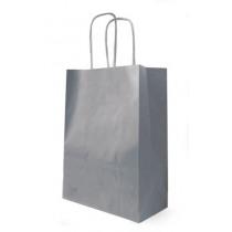 Draagtas Papier Kraft Grijs 90G/M² Getorst Handvat 18+8x22cm