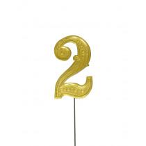 Jubileumcijfer 6,5cm Goud '2'