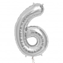 Ballon Folie 86cm Zilver '6'