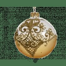 Kerstbal Glas Luxe Lichtgoud 8cm Diameter