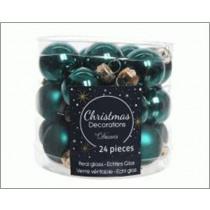 Kerstbal Glas Glans En Mat Emerald 2,5cm Diameter 24 Stuks