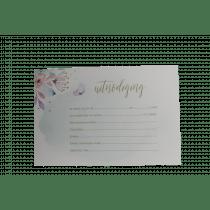 Invitation Aquarel Avec Papillons 15x10cm Menthe + 5 Enveloppes (91.054) 5 Pièces
