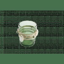 Theelichthouder 6,5cm Groen 5,5cm Diameter Glas Met Deco