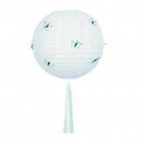 Lampion Deco Wit 30cm Diameter Met 12 Vlinders Munt & Tassel Multicolor