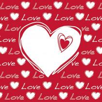 Servetten Rood Love Heart 33x33cm 20 Stuks