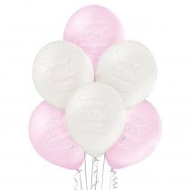 Ballon Roze En Parel Proficiat Met Je Communie Calligraphy 6 Stuks