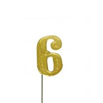 Jubileumcijfer 6,5cm Goud '6'