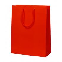 Draagtas Papier Rood 190G/M² 28+12x36cm Glanzend