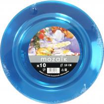 Bord Mozaïk Turquoise 19cm  Diameter PS 10 Stuks