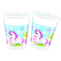 Bekers 200ml Unicorn 8 Stuks