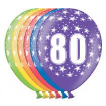 Ballon Metallic 30cm '80' 6 Stuks
