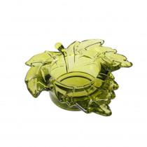 Theelichthouder Glas 9,3x10x3cm Groen Blad