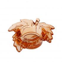 Theelichthouder Glas 9,3x10x3cm Oranje Blad