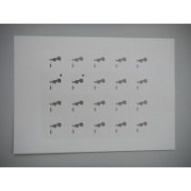 Naamkaartje 4X4Cm Wit Silhouet Jongen In Zilverfolie 40 Stuks