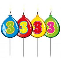 Verjaardagskaars Ballonnen Cijfer 3