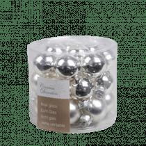Kerstbal Glas Glans En Mat Zilver 2,5cm Diameter 24 Stuks