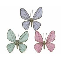 Vlinder Op Clip 12x12x6cm Paars, Roze Of Watergroen