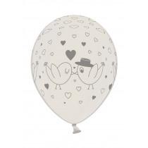Ballon Metallic 30cm Wit Duifjes Parelmoer 6 Stuks