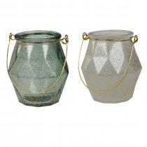 Theelichthouder Glas 8,5cm 8cm Diameter Groen/Wit Goudspray