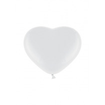 Ballon Pastel 30cm Wit Hart 50 Stuks