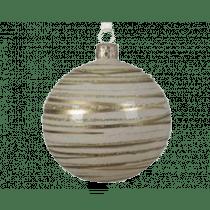 Kerstbal Glas Wolwit 8cm Diameter Met Transparante Lijn