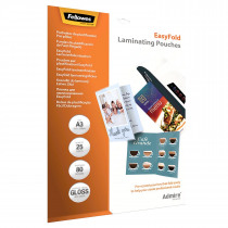 LAMINEERETUIS ADMIRE EASYFOLD POUCH FELLOWES A3 80MICRON GLANZEND (UIT VR 18/12) 25stuks
