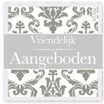 Wensetiket Vriendelijk Aangeboden Grijs NL 18 Stuks