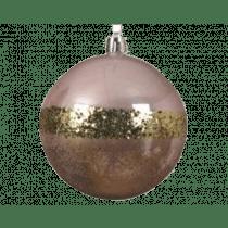 Kerstbal Plastiek Poederroze 8cm Diameter Glitters