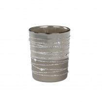 Theelichthouder Glas 6,5cm Zilver 5,5cm Diameter Donker