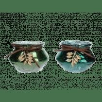 Theelichthouder Glas 6cm Groen 8,5cm Diameter Lint Leder Bruin, Gouden Blad
