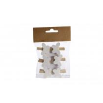 Clip Met Vlinder 3,8x3,5cm Lichtroze Hout 6 Stuks