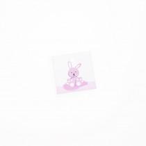 Naamkaartje 3,5x3,5cm Roze Konijn 40 Stuks