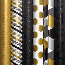 Inpakpapier Black & Gold 2m x 70cm Assortiment