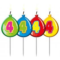 Verjaardagskaars Ballonnen Cijfer 4