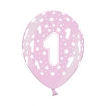 Ballon Metallic 30cm Roze '1' 6 Stuks