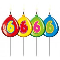 Verjaardagskaars Ballonnen Cijfer 6