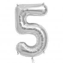 Folieballon 86cm Zilver '5'