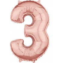 Ballon Folie 66cm Rose Gold '3'