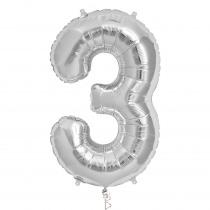 Ballon Folie 86cm Zilver '3'