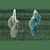 Boomdeco Dennenappels Glas 6cm Emerald 2,5cm Diameter Reliëf 3 Stuks