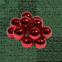 Boule Verre Sur Fil 12x Rouge Noël 2cm Diamètre Brillant 12 Pièces