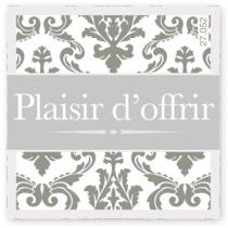 Wensetiket Plaisir D'OfFRir Grijs FR 18 Stuks