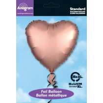 Folieballon 43cm Rose Gold Satin Luxe Hart