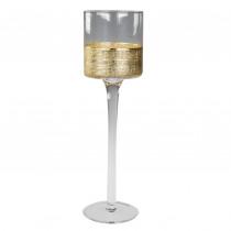 THEELICHTHOUDER 25cm GOUD 7cm diam GLAS OP VOET MET GOUDEN BOORD