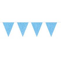 Glitter Vlaggenlijn Blauw 6m
