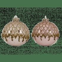 Kerstbal Glas Goud 8cm Diameter Met Kralen 3 Stuks
