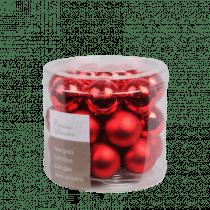 Kerstbal Glas Glans En Mat Kerstrood 2,5cm Diameter 24 Stuks