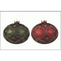 Kerstbal Glas 10cm Diameter Dennegroen Of Kerstrood Gouddraad