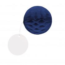 Honingraat Balletjes Donkerblauw 4,5cm Diameter met Rond Hangertje 8 Stuks
