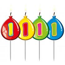 Verjaardagskaars Ballonnen Cijfer 1